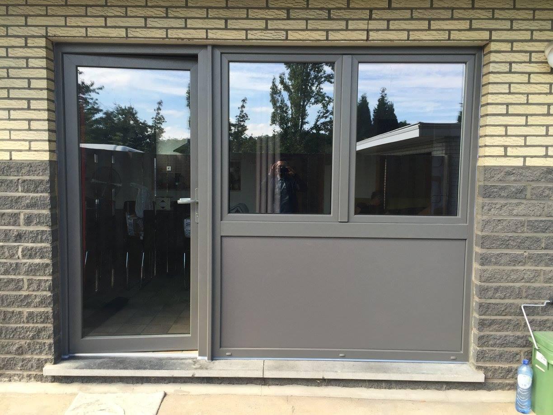 Porte pvc gealan gris quartz ensemble de porte fenetres chassis pvc - Prix porte pvc ...