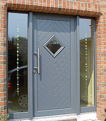Porte pvc gris avec panneau 3 vantails chassis pvc - Remplacement panneau porte pvc ...
